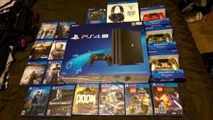 Sony Playstation 4 PRO 1TB + 12 juegos + 3 controladores