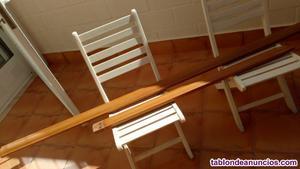 Vendo conjunto escalera de madera de nogal completa