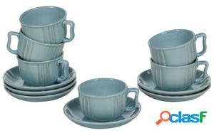 Wellindal Juego de 6 tazas de loza Azul