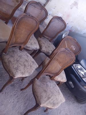 5 sillas de madera antigua con tapizado - Murcia