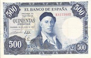 Billete de 500 pesetas zuloaga