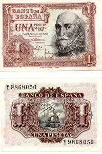 Billete de una peseta marques de santa cruz