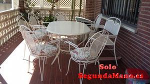 Mesa jardin, 6 sillas y sillon de hierro
