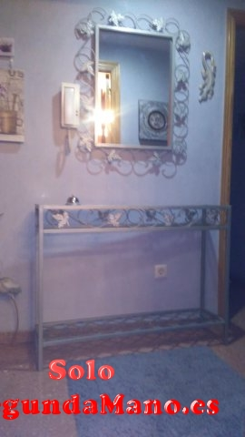 espejo de forja en plata y consola forja de cristal