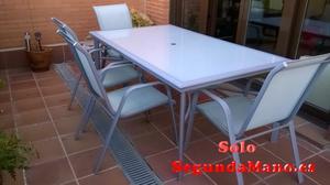 mesa y 4 sillas de jardín/terraza