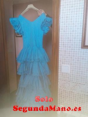 se vende traje de flamenca azul talla