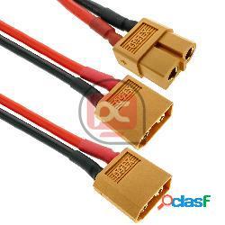 Cable xt60 hembra a 2 x xt60 macho de 15cm 14awg carga y