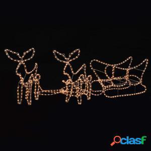 Luces de navidad 2 renos y trineo LED 260x24x47 cm