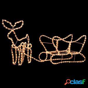 Luces de navidad de reno y trineo LED 190x24x47 cm