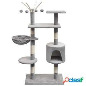 Rascador para gatos con poste rascador de sisal 125 cm gris