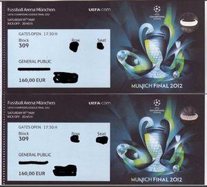 2 Entradas de la UEFA Champions League Final  -