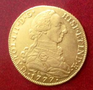 8 escudos  gold coin carlos III moneda de oro -