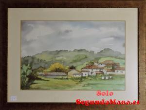 Acuarela del barrio de la Bahua, Agones (Pravia) (26b)