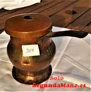 Antigua pota de cocinar de cobre con mango hierro (304a)