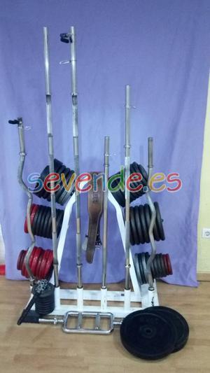 Banco de pesas y discos Fitness profesional