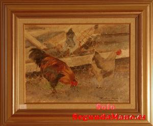 Bodegon Gallinas comiendo en el Corral (62b)