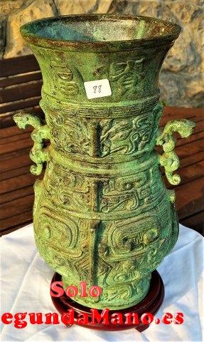 Jarron Chino de Cobre envejecido, peana de madera (88a)