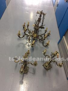 Lámpara de techo y 2 candelabros de bronce