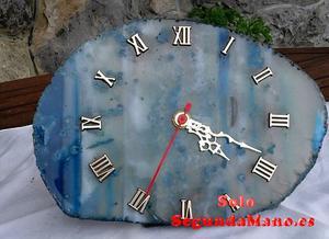 Reloj de piedra Amatista con numeros y agujas de Plata (37a)