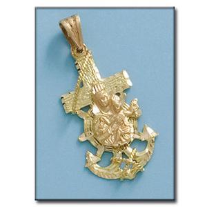 cruz marinera virgen del carmen oro 1ª ley 18k - Málaga