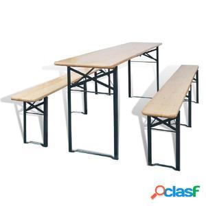 Mesa de jardín con 2 bancos madera de abeto 220 cm