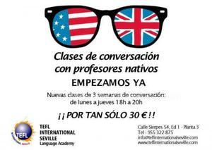 24 clases de conversación en inglés por 30 €.
