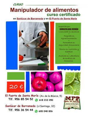MFP Curso CERTIFICADO de Manipulador de alimentos en