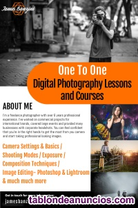 One to one digital photography lessons in english