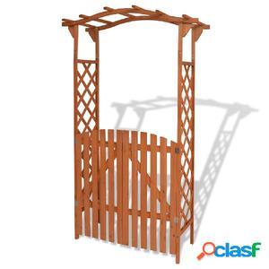 Arco de jardín con puerta de madera maciza 120x60x205 cm