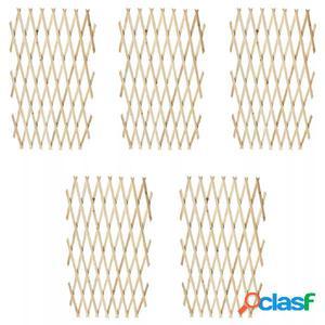 Set 5 vallas extensibles de madera enrejada, 180 x 90 cm