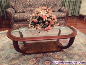 Juego de mesas cristal con madera de cerezo
