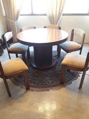 Mesa extensible con 6 sillas, madera, muy buena calidad