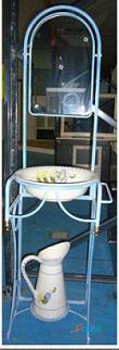 Palanganero con jarra de forja azul