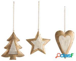 Wellindal Colgador corazon, estrella y árbol surtido