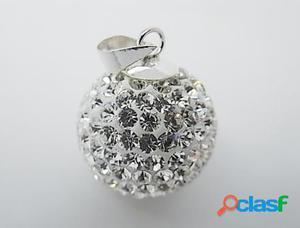 Colgante bola de plata con cristales blancos 20 mm.