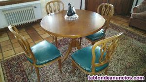 Conjunto mesa y sillas nogal