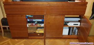 Muebles salón madera maciza color cerezo
