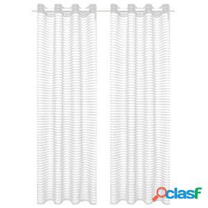Visillo de tejido a rayas 2 piezas blanco 140x175 cm