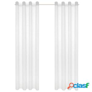 Visillo de tela apariencia de lino 2 piezas blanco 140x175