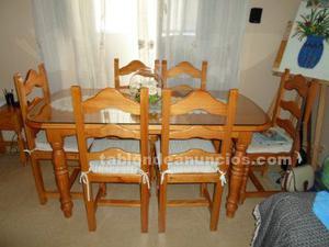 Mesa y 6 sillas nuevas provenzal miel.