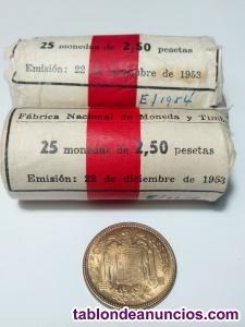 50 monedas de 2,50 pesetas