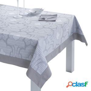 Mantel Jacquard Terhi con servilletas y aplique gris 155x300