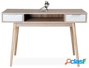 Mesa de escritorio Saukko blanco y madera
