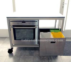 Mueble de cocina bosch + ag electrolux + cubo basura acero