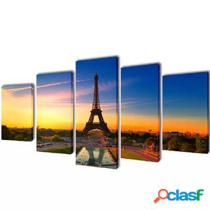 Set decorativo de lienzos para la pared Torre Eiffel 200 x