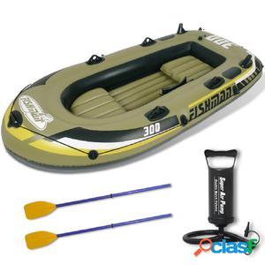 Barco Inflable Bote De Pesca Con Bomba Y Remos 252 cm