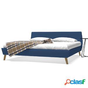 Cama con colchón viscoelástico 180x200 cm tela azul