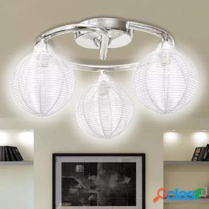 Lámpara de techo con tres globos redondos de alambre, G9