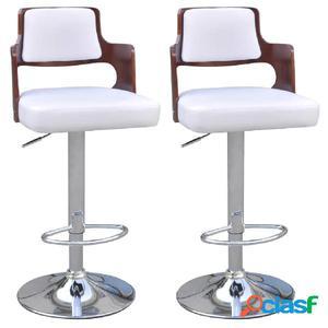 Taburetes de bar 2 uds cuero artificial blanco asiento