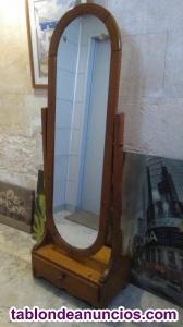 Espejo de pie en madera de roble
